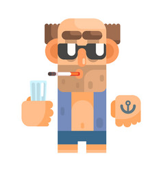 Unshaved alcoholic with anchor tattoo and vector