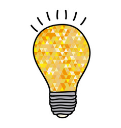hand drawn background with yellow light bulb and vector image