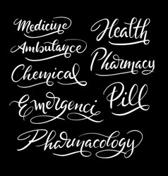Medicine and health hand written typography vector
