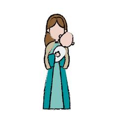 Virgin mary holding baby jesus catholic image vector