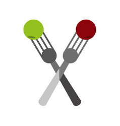 Crossed forks with food icon image vector