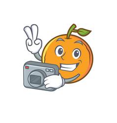 Photography orange fruit cartoon character vector