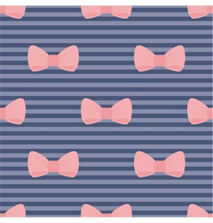 Seamless pink bows on blue pattern vector image
