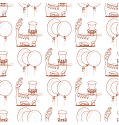 Seamless pattern with cat in a top hat and vector