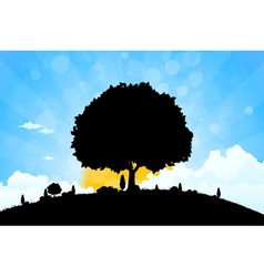 Landscape with grass clouds and trees vector