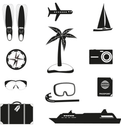 Set of black travel icons vector