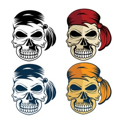 Pirates skull set vector