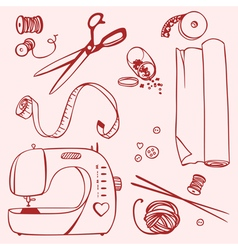 Set items for sewing and crafts vector