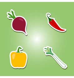 Set of color icons with vegetables vector