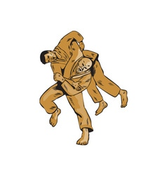 Judo combatants throw front etching vector