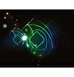 Glowing elements in dark space vector