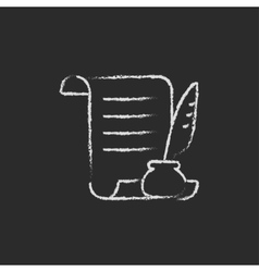 Paper scroll with feather pen icon drawn in chalk vector