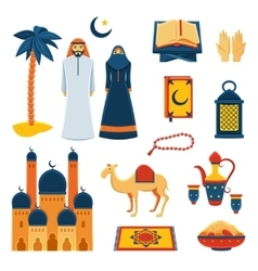 Islam religion flat icons set vector