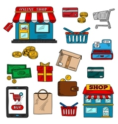 Shopping business and retail color icons vector