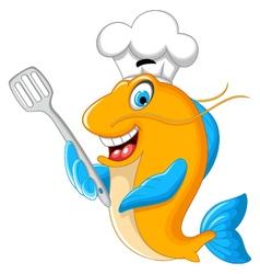 Cartoon chef fish holding a kitchen spatula for yo vector image