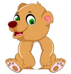 Cute bear cartoon sitting vector