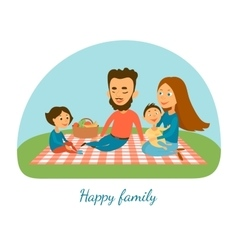 A happy family camping picnic a family cartoon vector