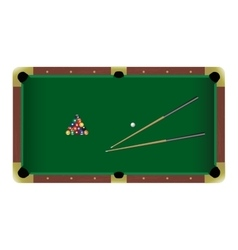American pool billiard table with a cue and balls vector