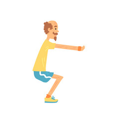 Athletic old man showing squat exercise side view vector