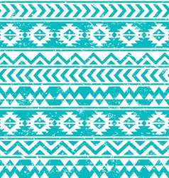 Aztec tribal seamless grunge white pattern on blue vector image