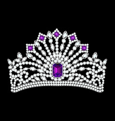 beautiful female diadem with precious stones vector image vector image