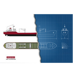 Blueprint of cargo ship top side and front vector