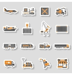 Cargo transport and packaging two color sticker vector