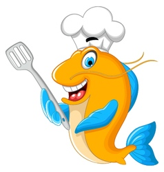 Cartoon chef fish holding a kitchen spatula for yo vector