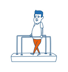 Cartoon man patient in the rehabilitation therapy vector