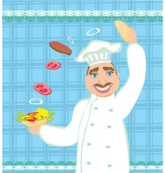 chef preparing a burger vector image vector image