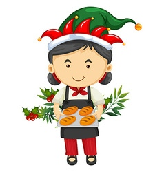 Christmas theme with girl and bread vector