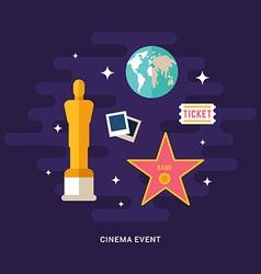 Cinema event concept cinematic award set of flat vector
