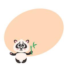 Cute smiling baby panda character holding bamboo vector