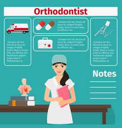 Female orthodontist and medical equipment icons vector