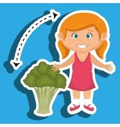 Girl cartoon broccoli vegetable vector