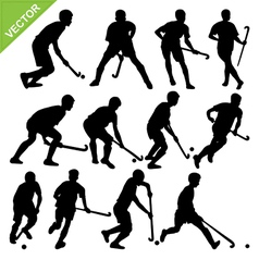 Hockey player silhouettes vector image vector image