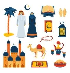 Islam religion flat icons set vector