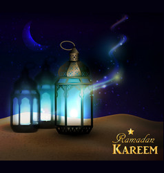 lanterns stands in the desert at night sky vector image