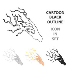 lightning spell icon in cartoon style isolated on vector image