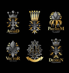 lily flowers royal symbols floral and crowns vector image