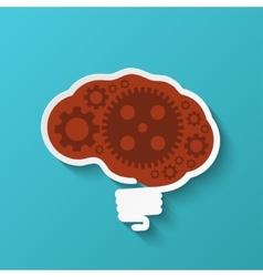 Modern brain icon on blue background vector