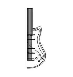 monochrome contour with half electric guitar vector image vector image