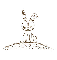 monochrome hand drawn silhouette of bunny sitting vector image vector image