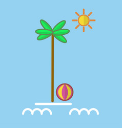 Palm with ball at sea vector