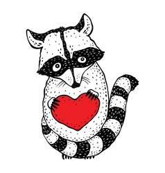 Raccoon carrying a heart vector image