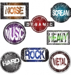 rock music stamps vector image vector image