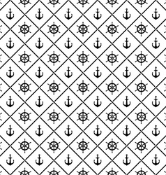 Ship anchors and yacht boat helm rudder with vector image