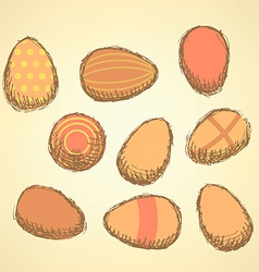 Sketch Easter eggs set in vintage style vector image