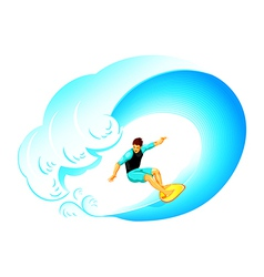 Surfer on big wave vector image