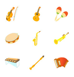tools for music icons set cartoon style vector image vector image